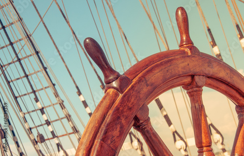 Steering wheel of old sailing vessel - 68023359