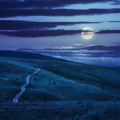 road through a meadow on the hillside at night