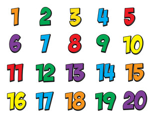 Comic Style Colorful Children's Number Set 1-20