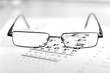 Clear Black modern glasses on eye sight test chart