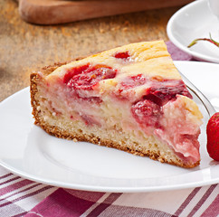 French pie (quiche) with strawberries