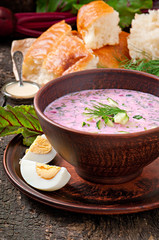 Cold soup with beetroot and yogurt