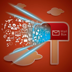 Network Connectivity to mail box concept vector
