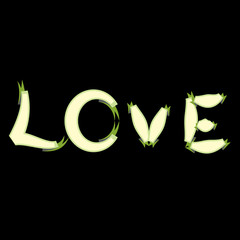abstract love text on black background