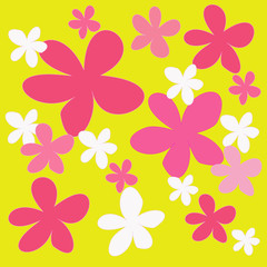 abstract colorful flower on yellow background