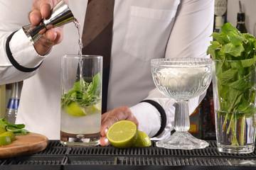 Barman preparando coctel de mohito.