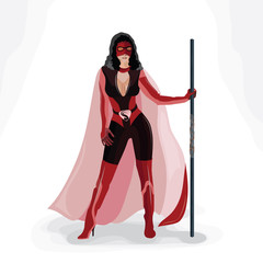 Superhero girl in red (vector)
