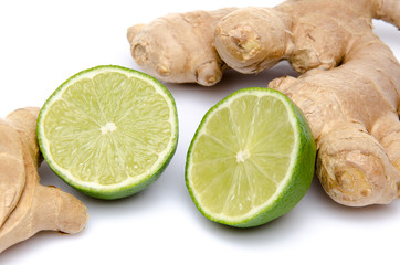 Ginger with a lime cut in half