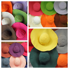 group of colorful summer textile hats