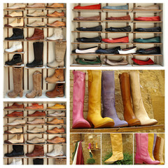 group of images with variety of leather shoes