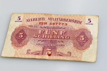 5 schilling, alliierte militärbehörde österreich 1944