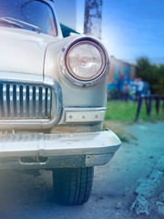 Headlight retro car, closeup, instagram effect