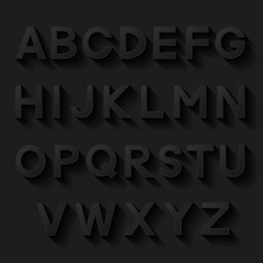 Decorative alphabet. Set of letters with shadow