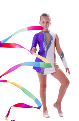 girl gymnast with ribbon in hand
