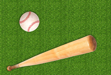 baseball ball and bat on green grass background