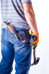 man's back with tools
