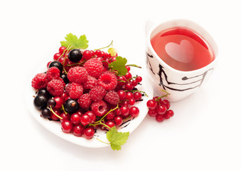 Plate with berries and a cup of red tea