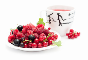 Cup of tea and berries