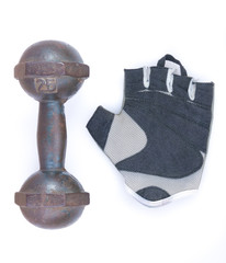 dumbbell and glove