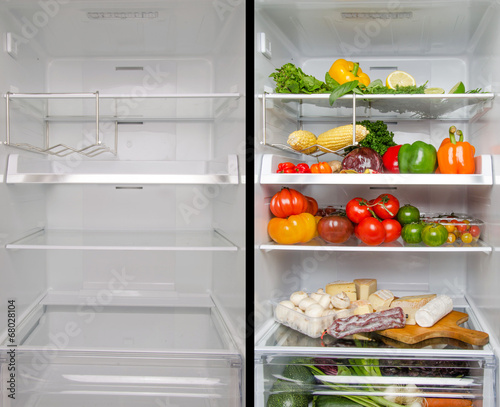 Empty and full refrigerator - 68028104