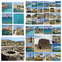 collage with images of touristic attractions of Sardinia island
