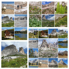 collage with images of Dolomiti Mountains