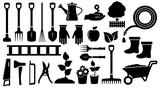 set black garden tools
