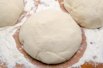Balls of pizza dough