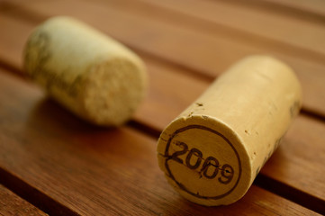 Wine corks on a wooden table