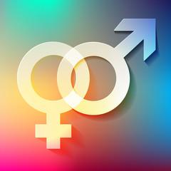 Venussymbol und Marssymbol Regenbogen