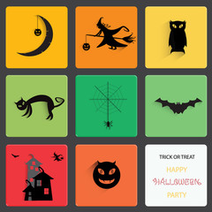 Set of halloween black shadow silhouette on squre shape.