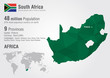 South Africa world map with a pixel diamond texture. - 68029303