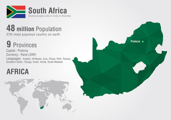 South Africa world map with a pixel diamond texture.