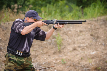 Shotgun Shooting Training. Outdoor Shooting Range