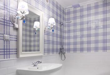 Beautiful blue and white bathroom