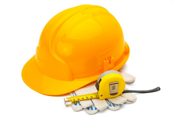 Construction helmet with measure tape and gloves