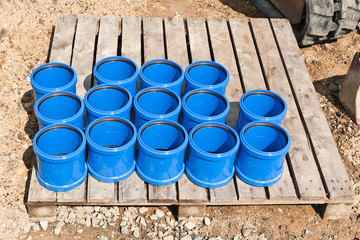Überschiebemuffen - Doppelmuffen aus blauem Kunststoff