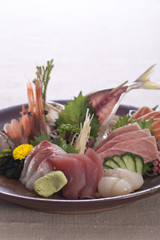 Sashimi arranged on bowl
