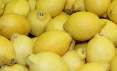 A Display of Fresh Yellow Lemon Citrus Fruits.