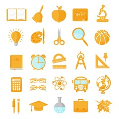 Set of school icons orange