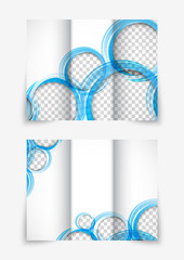 Tri-fold design brochure with blue circles
