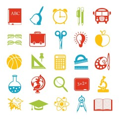 set of school icons, brightly colored.