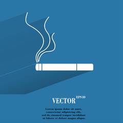 Smoking sign. cigarette. Flat modern web button with long shadow