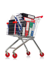 Shopping cart with supermarket basket