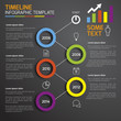 Dark infographic timeline template with circles