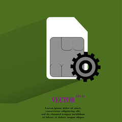 SIM card. Flat modern web button with long shadow and space for