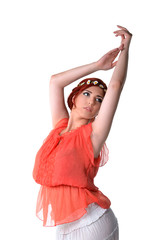 Portrait of a young hippie woman dancing