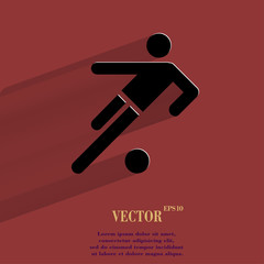 football player. Flat modern web button with long shadow and