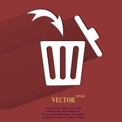 Trash bin. Flat modern web button with long shadow and space for