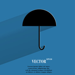 Umbrella. Flat modern web button with long shadow and space for